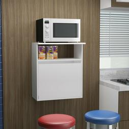 White Floating Wall Mount Microwave Cart Cabinet Home Dining