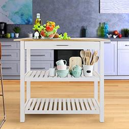 "Oopamazing 39"" White Kitchen Island Table Cart Microwave Sta"