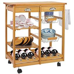 BBBuy Wooden Rolling Kitchen Storage Island Cart Dining Trol